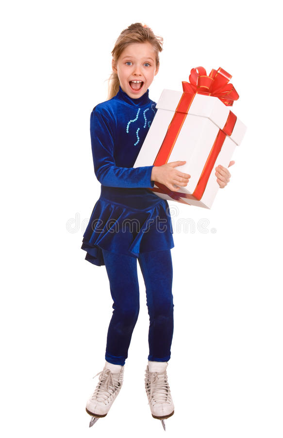 Free Child Girl In White Skate With Gift Box. Stock Image - 12093661