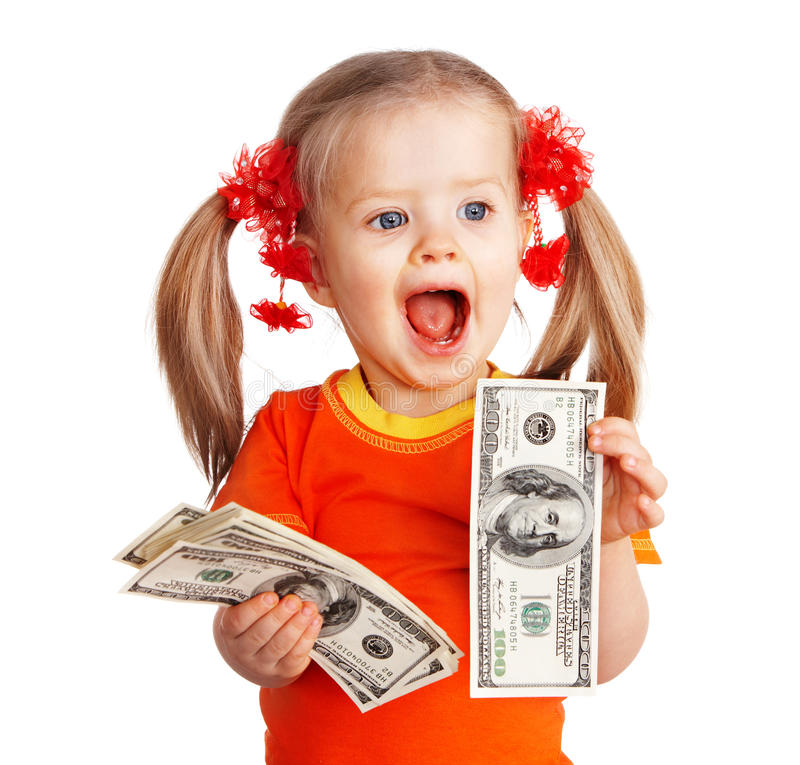 Child Girl With Money Dollar Banknote. Royalty Free Stock Images