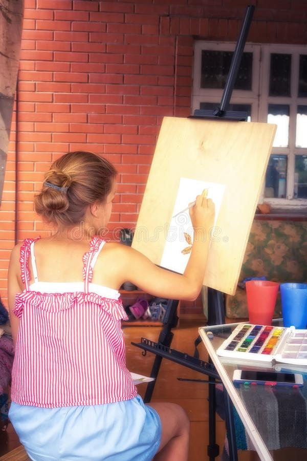 Child girl painter painting on easel concept children inspiration art development royalty free stock photos