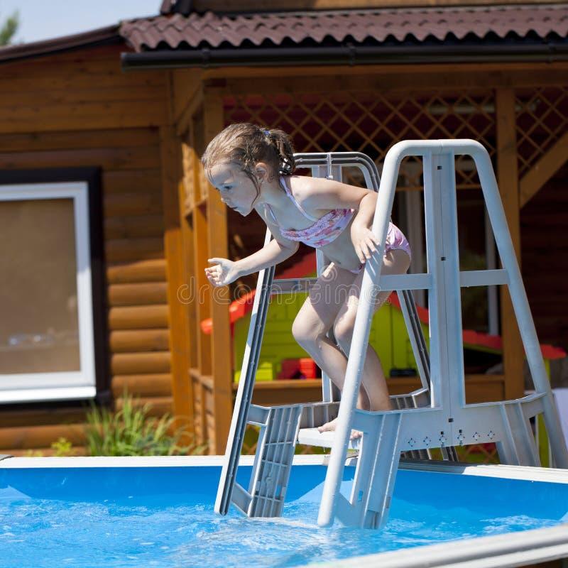 Child girl in pink bikini near swimming pool hot summer - Where is my nearest swimming pool ...