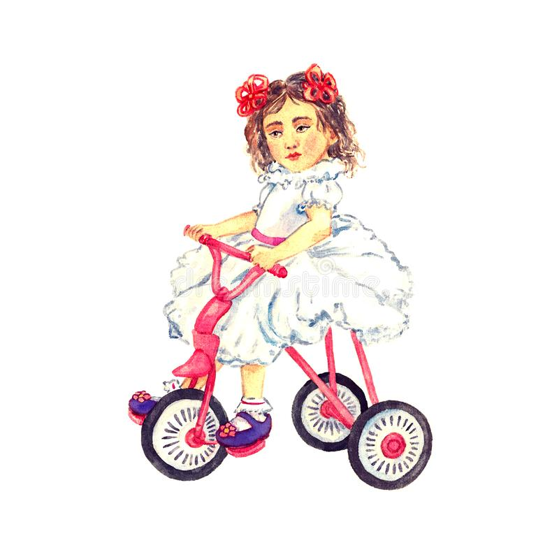 Child girl with red bows in hair in white dress sitting on pink tricycle bicycle, hand painted watercolor illustration royalty free illustration