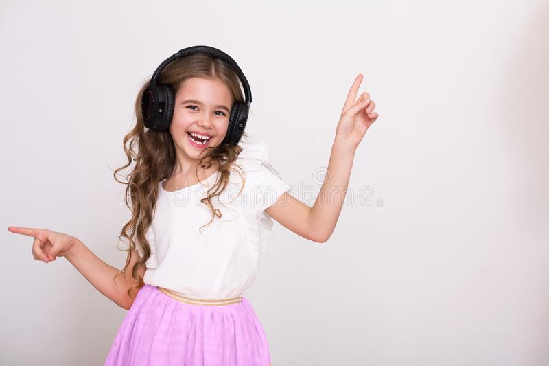 Child girl singer concept, copy space stock photo