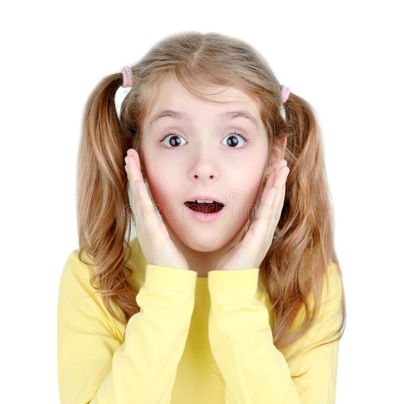Child girl surprised face portrait isolated stock images