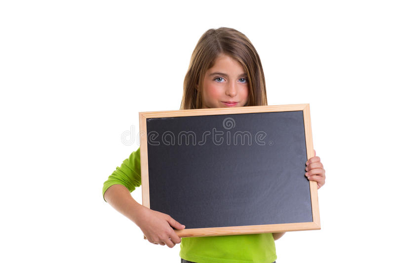 Download Child Girl With White Frame Copy Space Black Blackboard Stock Photo - Image: 28522050