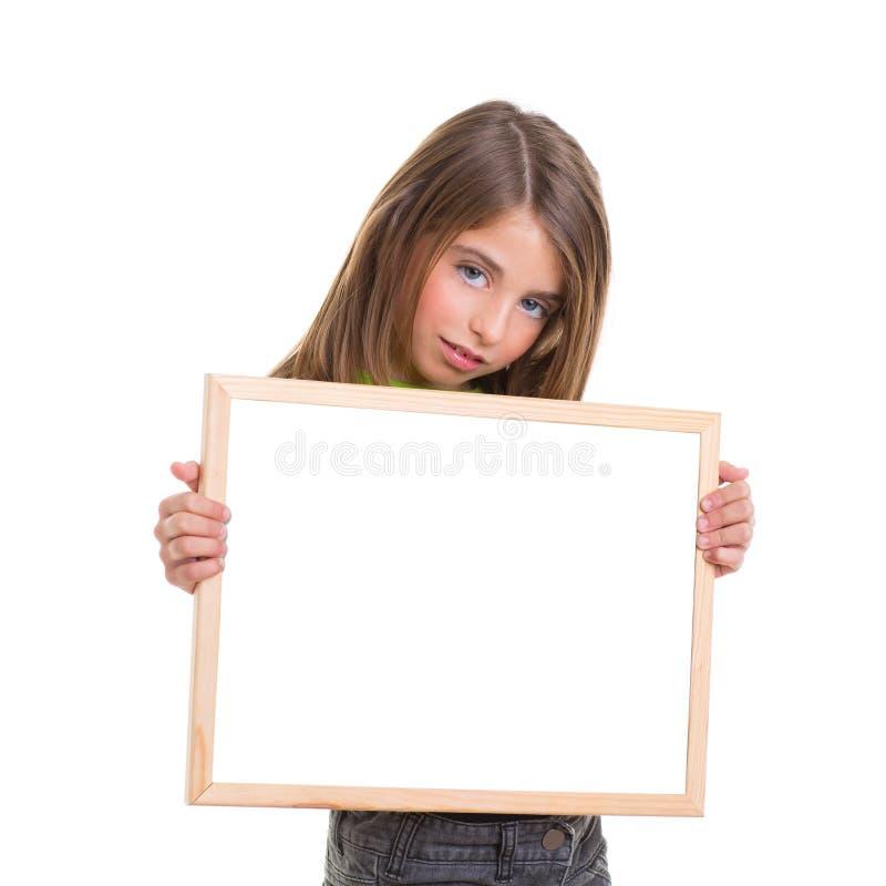 Child Girl With White Frame Copy Space White Blackboard Stock Photo