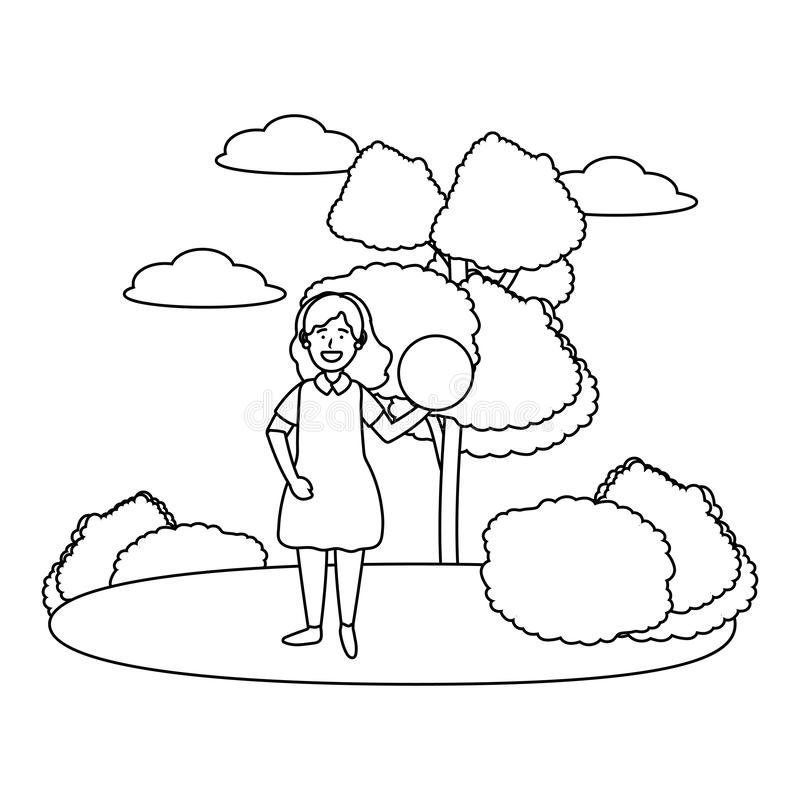 Child girls avatar black and white. Child girls avatar cartoon character outdoor in the park with ball black and white vector illustration graphic design vector illustration