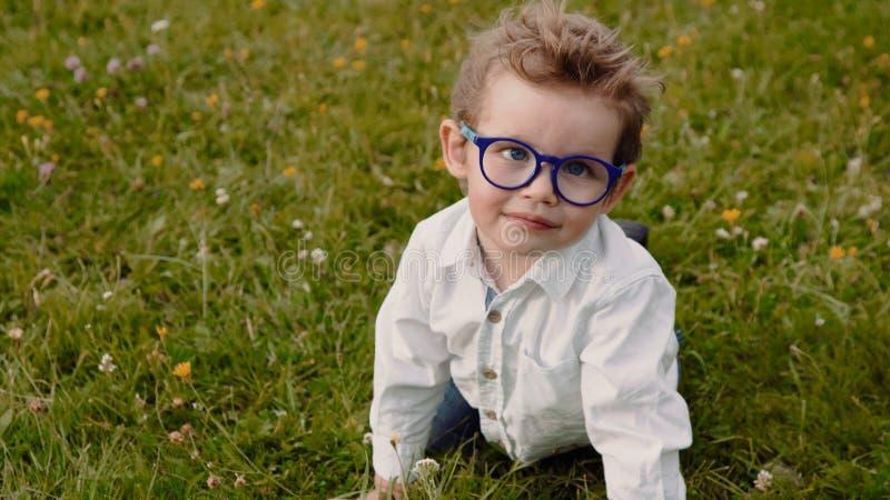 Child in glasses stock image