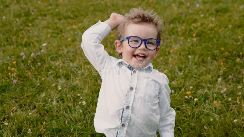 Child in glasses royalty free stock photography