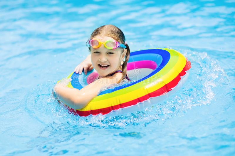 Child In Swimming Pool Kids Swim Water Play Stock Photo Image