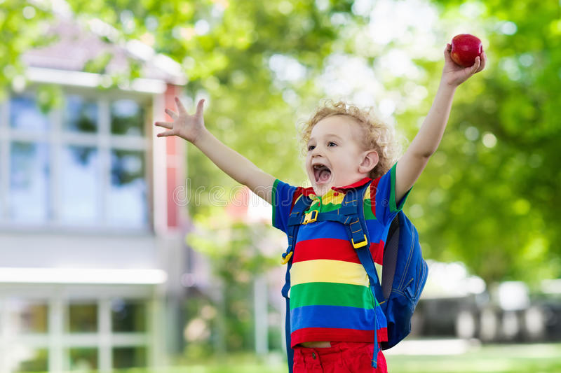 Child going back to school, year start stock image