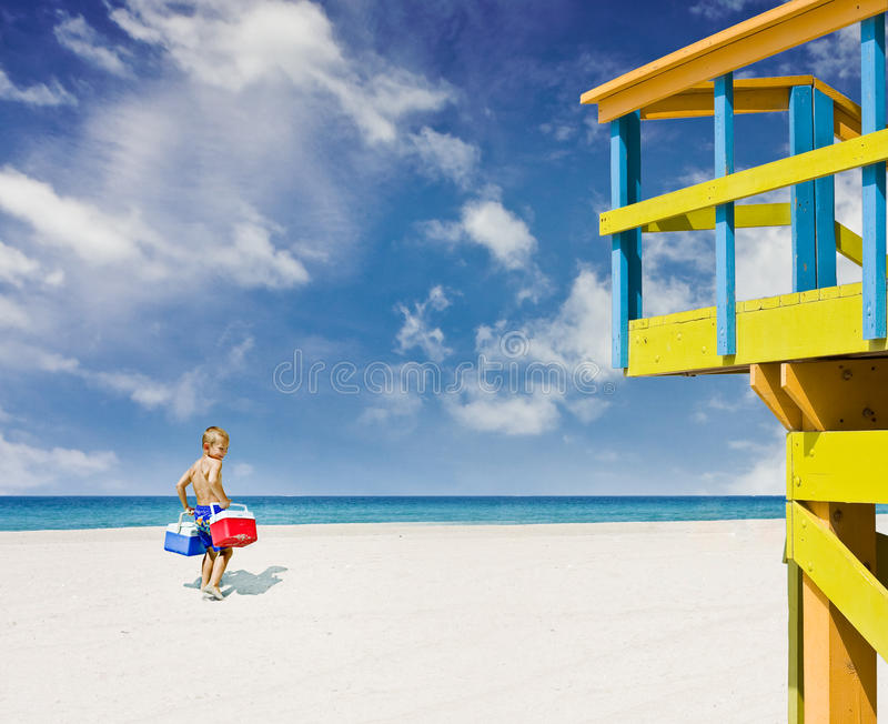 Download Child Going To The Beach In Miami Stock Photos - Image: 12452373