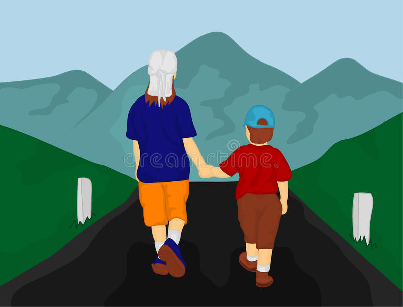 Child going to mountains royalty free illustration