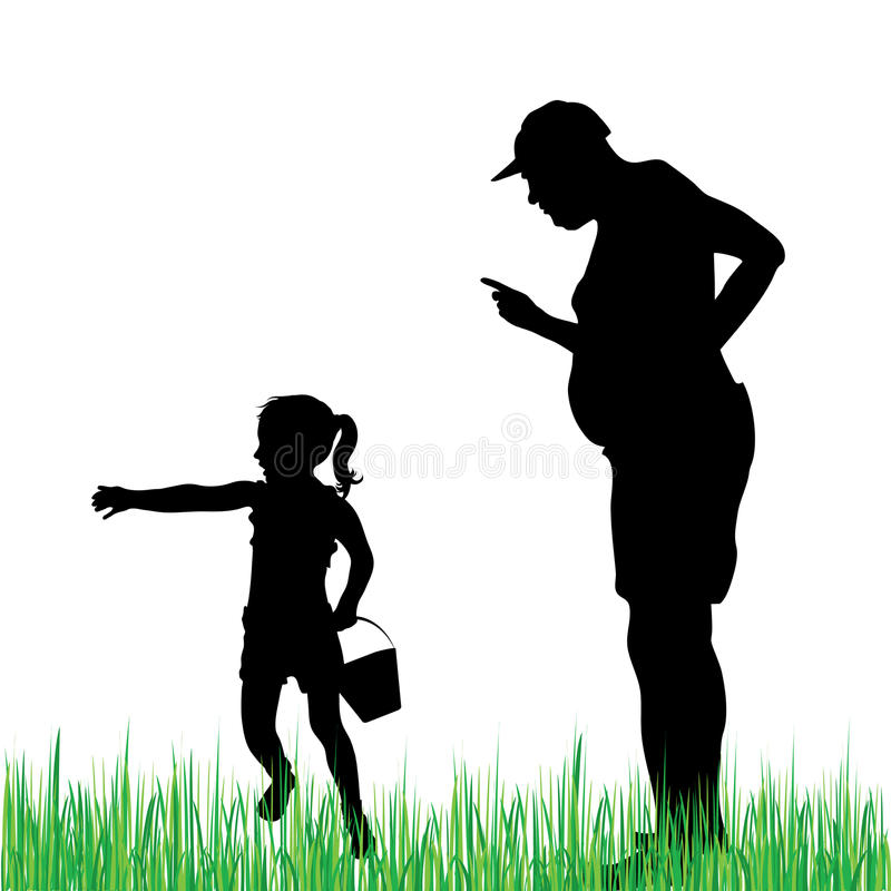 Child and grandfather vector illustration