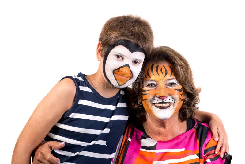 Kids And Granny With Face Paint Stock Image Image Of Granny Boys 158859701