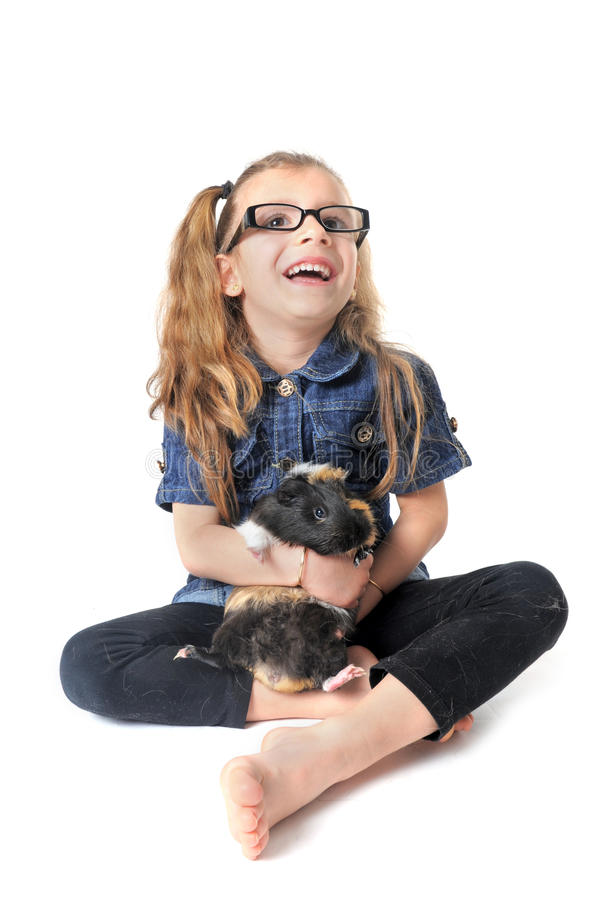 Child and Guinea pig