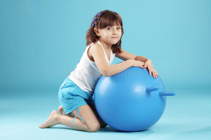 Download Child with gymnastic ball stock photo. Image of cute - 14151010