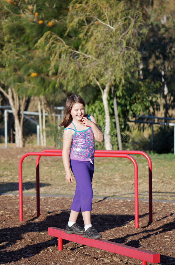Child Gymnastics Outdoors Royalty Free Stock Images