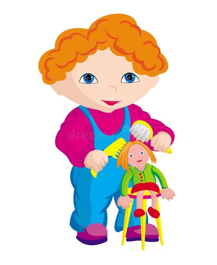 The child - hairdresser stock photos