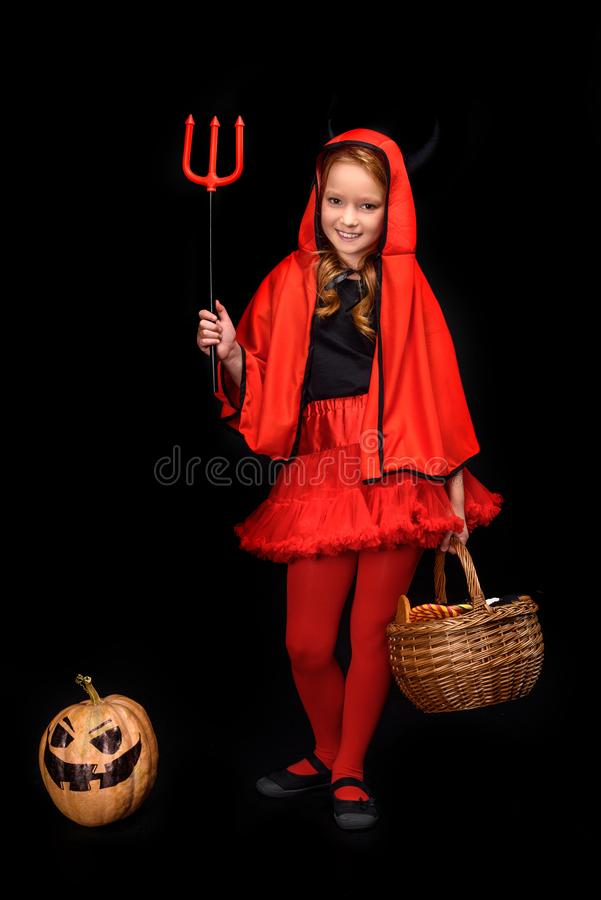 Child in halloween costume of devil royalty free stock photos