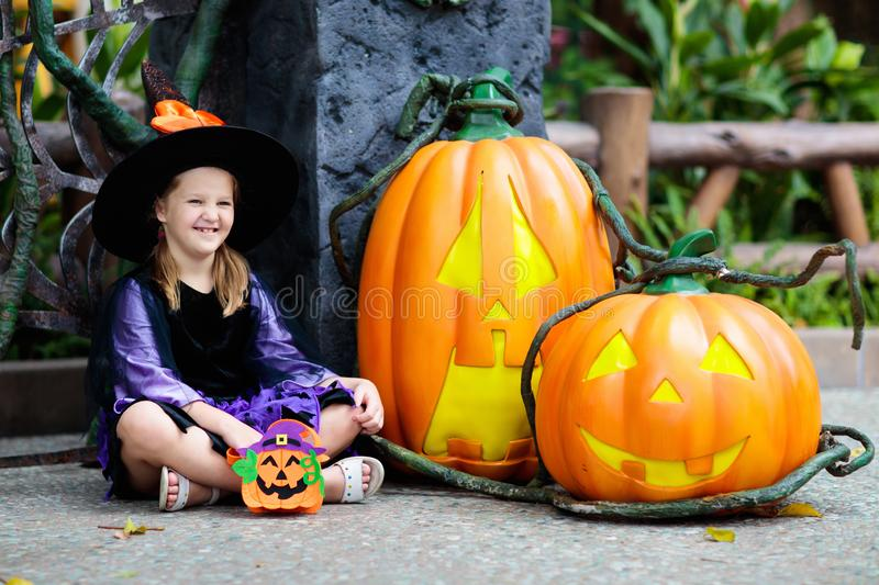 Child in Halloween costume. Kids trick or treat stock photos