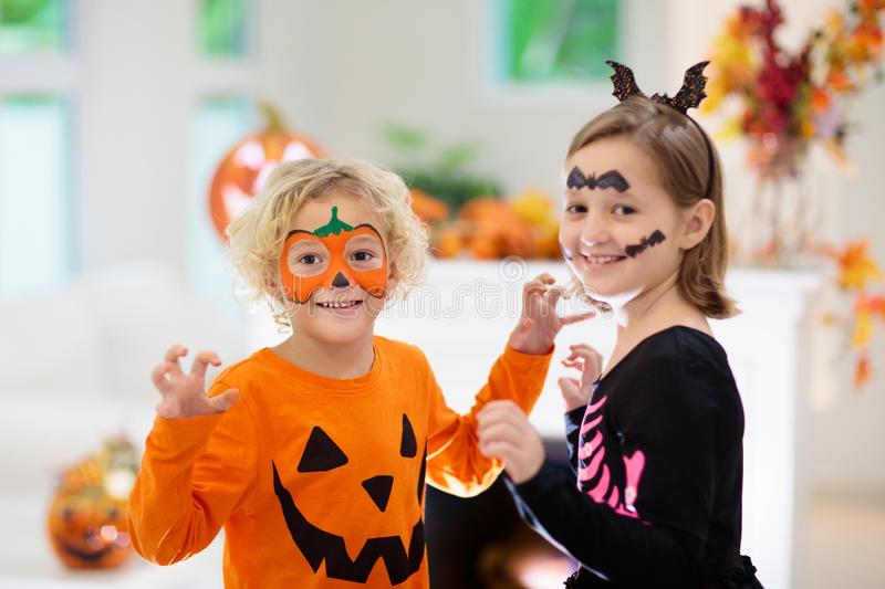 Child in Halloween costume. Kids trick or treat stock images