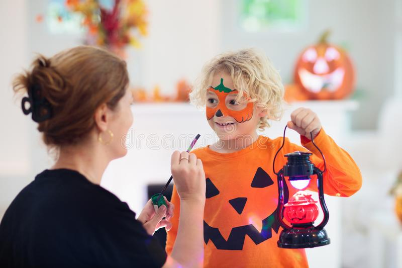 Child in Halloween costume. Kids trick or treat royalty free stock photo