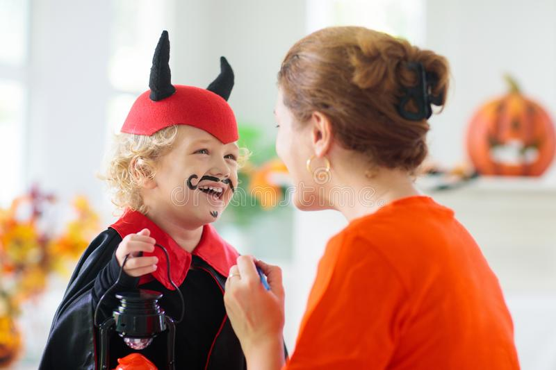 Child in Halloween costume. Kids trick or treat stock image