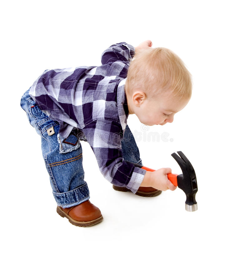 Child with a hammer stock image