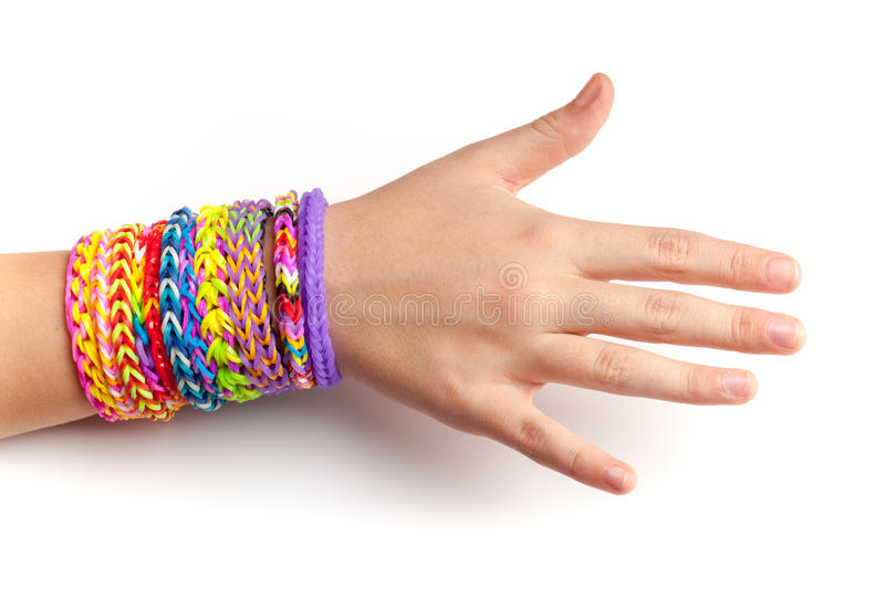 Child Hand With Colorful Rubber Rainbow Loom Bracelets Stock Image ...