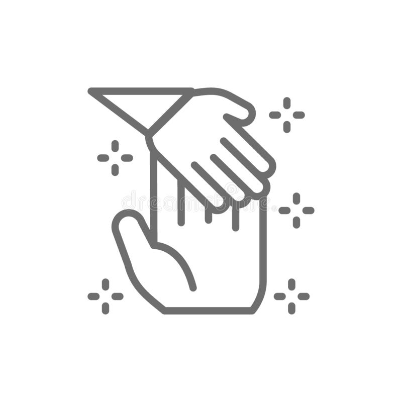 Child hand holds palm of man, donation to children, orphanages, charity, volunteering line icon. stock illustration