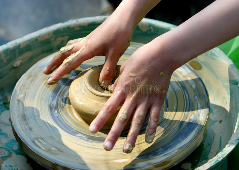 child hand makes the clay modelling royalty free stock images