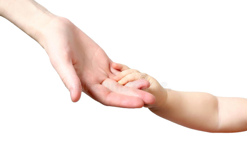 Child hand on mother hand royalty free stock photos