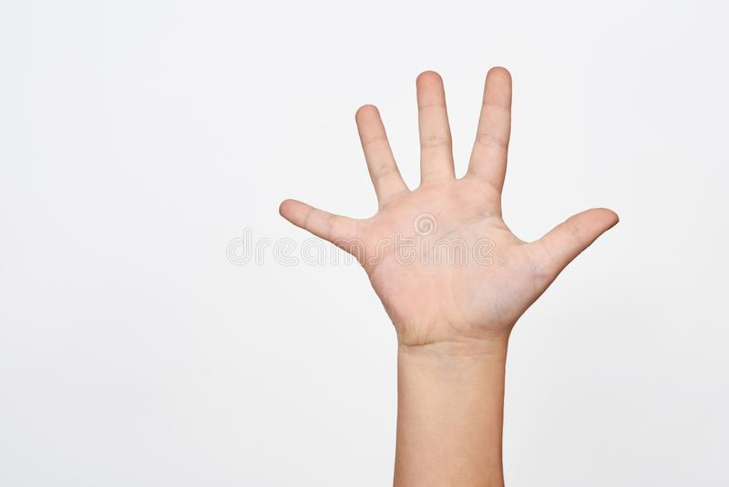 Child hand shows the number five royalty free stock photos