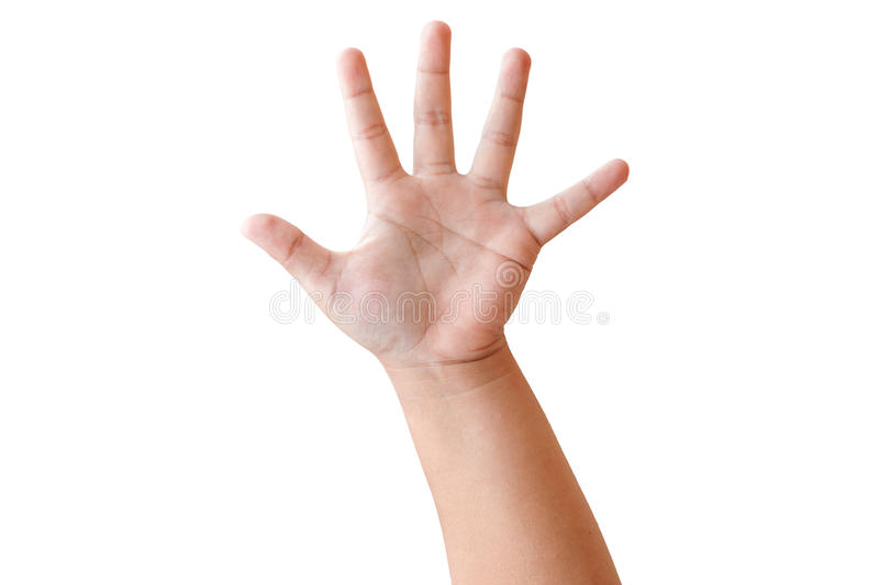 Child hand shows the number five royalty free stock photography