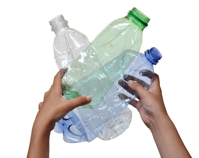 plastic litter in human hands stock photo