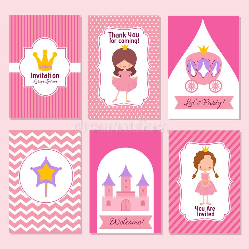 Child happy birthday and princess party pink invitation vector download child happy birthday and princess party pink invitation vector template stock vector illustration of stopboris Choice Image
