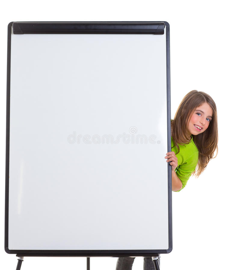 Download Child Happy Girl With Blank Flip Chart White Copy Space Stock Photo - Image: 28522074