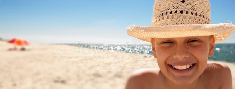 Child happy panoramic beach background summer vacations stock photo