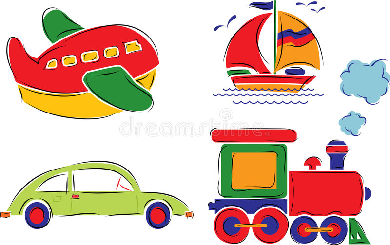 Child has drawn car, plane, ship and train, vector stock illustration