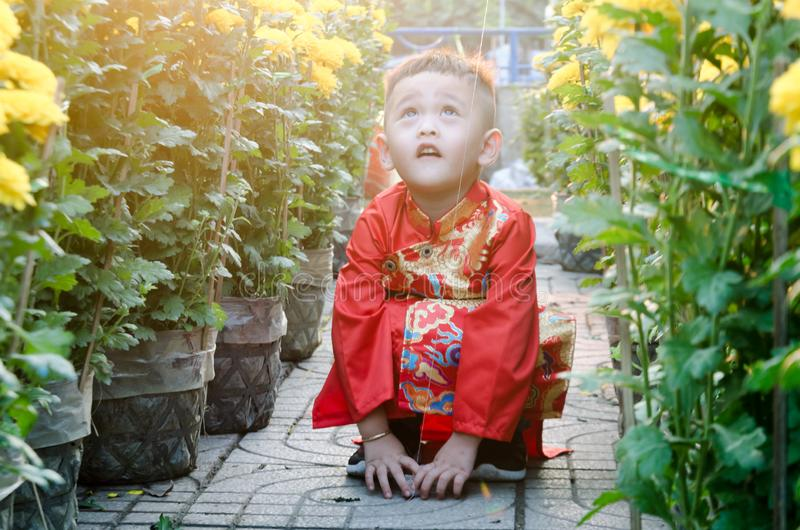 The child has fun on the lunar new year. royalty free stock images