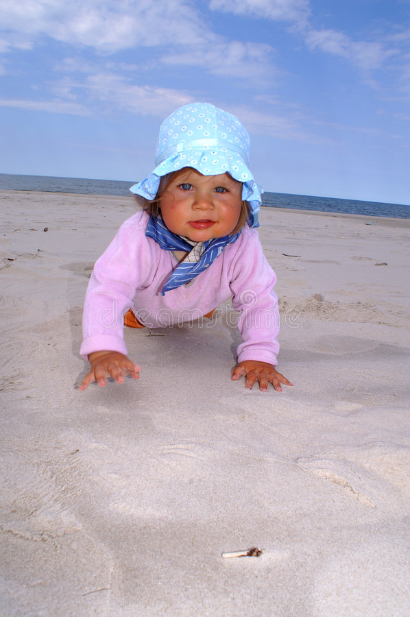 Download Child in hat stock photo. Image of baby, ocean, crawling - 7409028