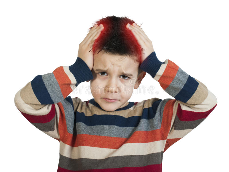 Child have headache. White isolated studio shot royalty free stock images
