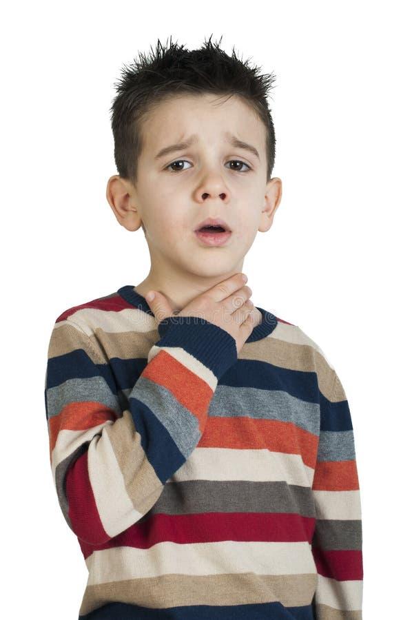 Child have sore throat sick stock image