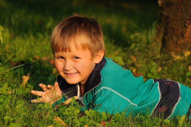 Child having fun in garden stock photos