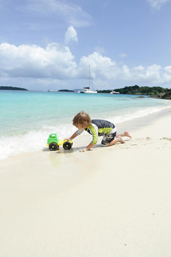 Download Child Having Fun On Tropical Beach Near Ocean Stock Photo - Image: 39542346