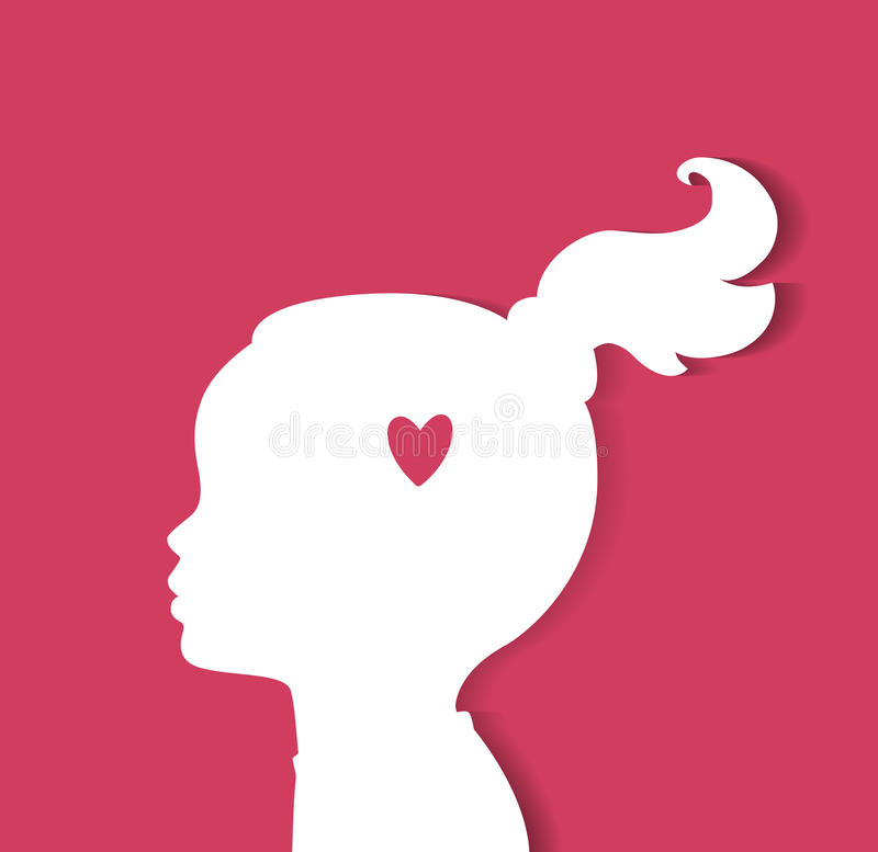 Child head with heart stock illustration