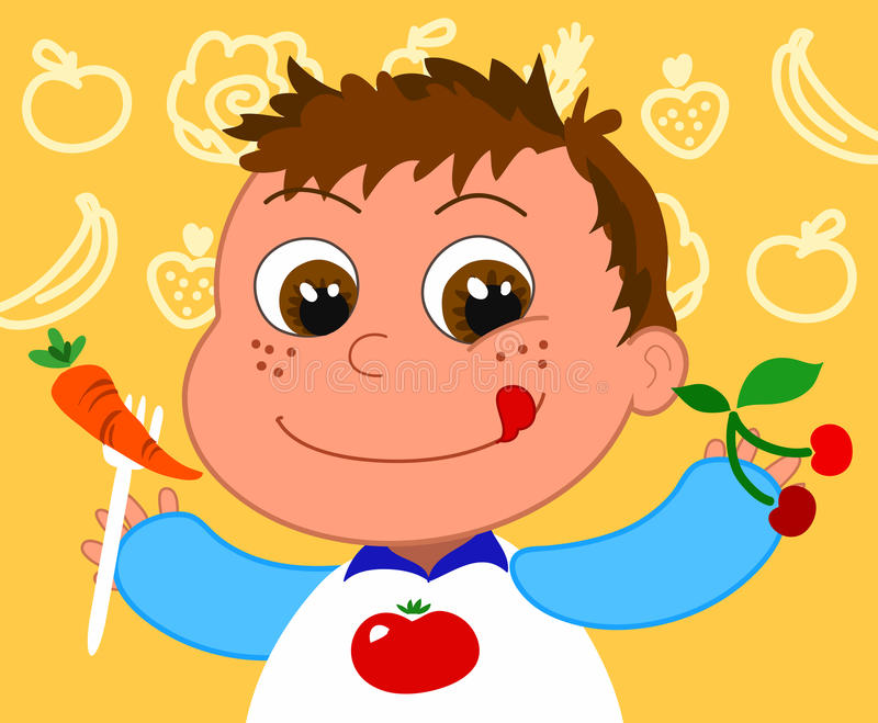Download Child with healthy food stock vector. Image of vegetarian - 14021377