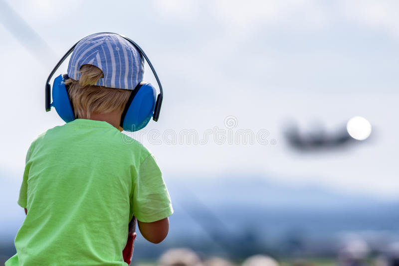 Child with hearing protections royalty free stock photos