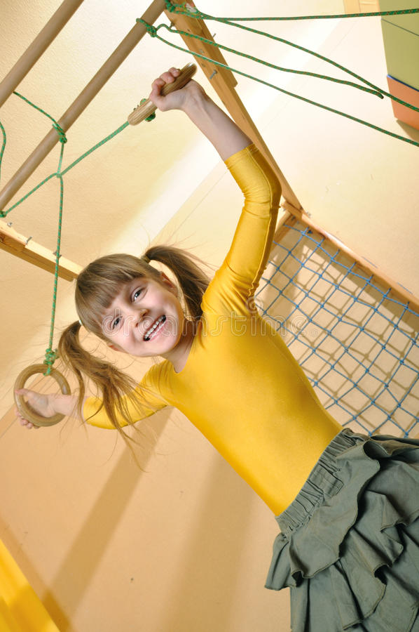 Child at her home sports equipment