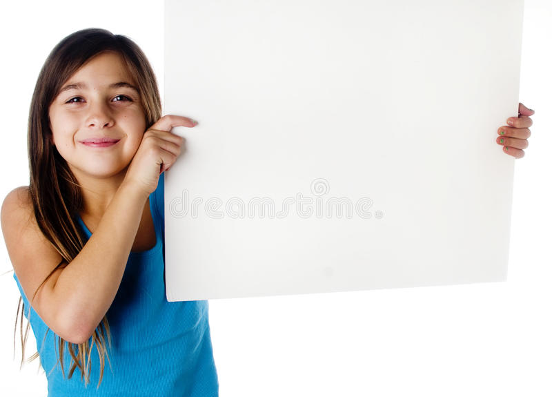 Child holding a blank sign. Photo of a child holding a blank sign stock photo